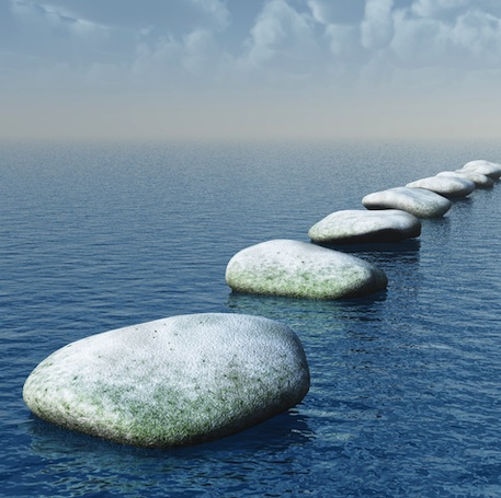Stepping stones across the blue sea